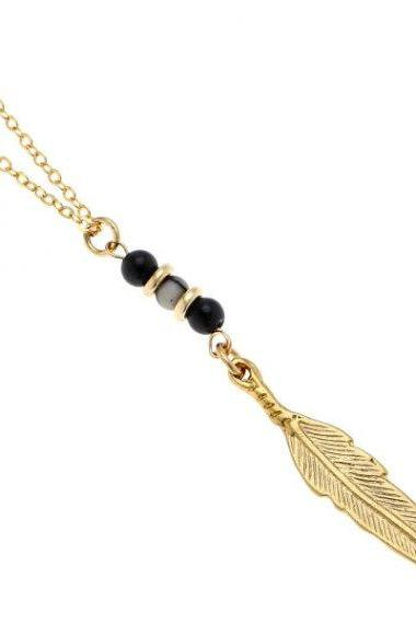 Men's Necklace - Men's Feather Necklace - Men's Gold Necklace - Men's Jewelry - Men's Gift - Boyfriend Gift - Husband Gift - Present For Men