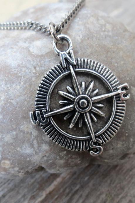 Men's Necklace - Men's Silver Necklace - Men's Compass Necklace - Men's Jewelry - Men's Gift - Men's Pendant - Boyfriend Gift - Husband Gift - Male Jewelry