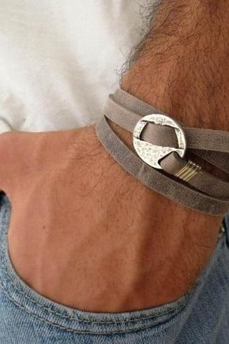 Men's Bracelet - Men Geometric Bracelet - Men Leather Bracelet - Men's Jewelry - Men's Gift - Boyfrienf Gift - Husband Gift - Gift for him