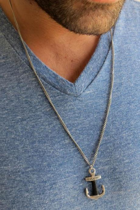 Men Necklace - Men Anchor Necklace - Men Silver Necklace - Men Jewelry - Men Gift - Boyfriend gift - Husband Gift - Present Fo Men - Male Jewelry - Male Necklace